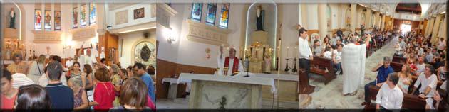 Horários de Missas:  2ª feira a 6ª feira: 07h30 e 18h Sábado: 08h e 16h Domingo: 08h, 09h30, 11h30 e 18h